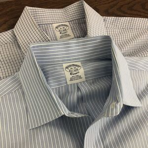 2 Brooks Brothers 1818 Dress Shirts Blue 16 - 36